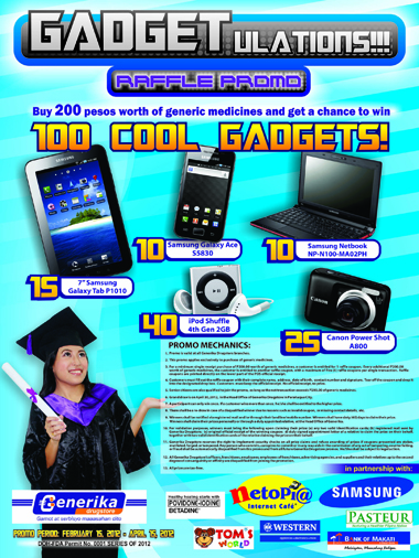 Generika Drugstores' Gadgetulations Raffle Promo 2012