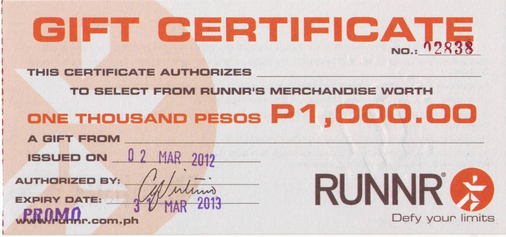 Runnr P1000 Gift Certificate Giveaway Manila On Sale