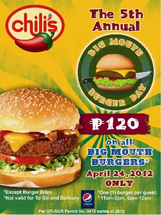 Chilis Big Mouth Burger Day 2012