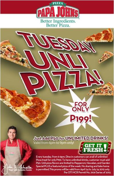 Papa John's Tuesday Unli Pizza 2012