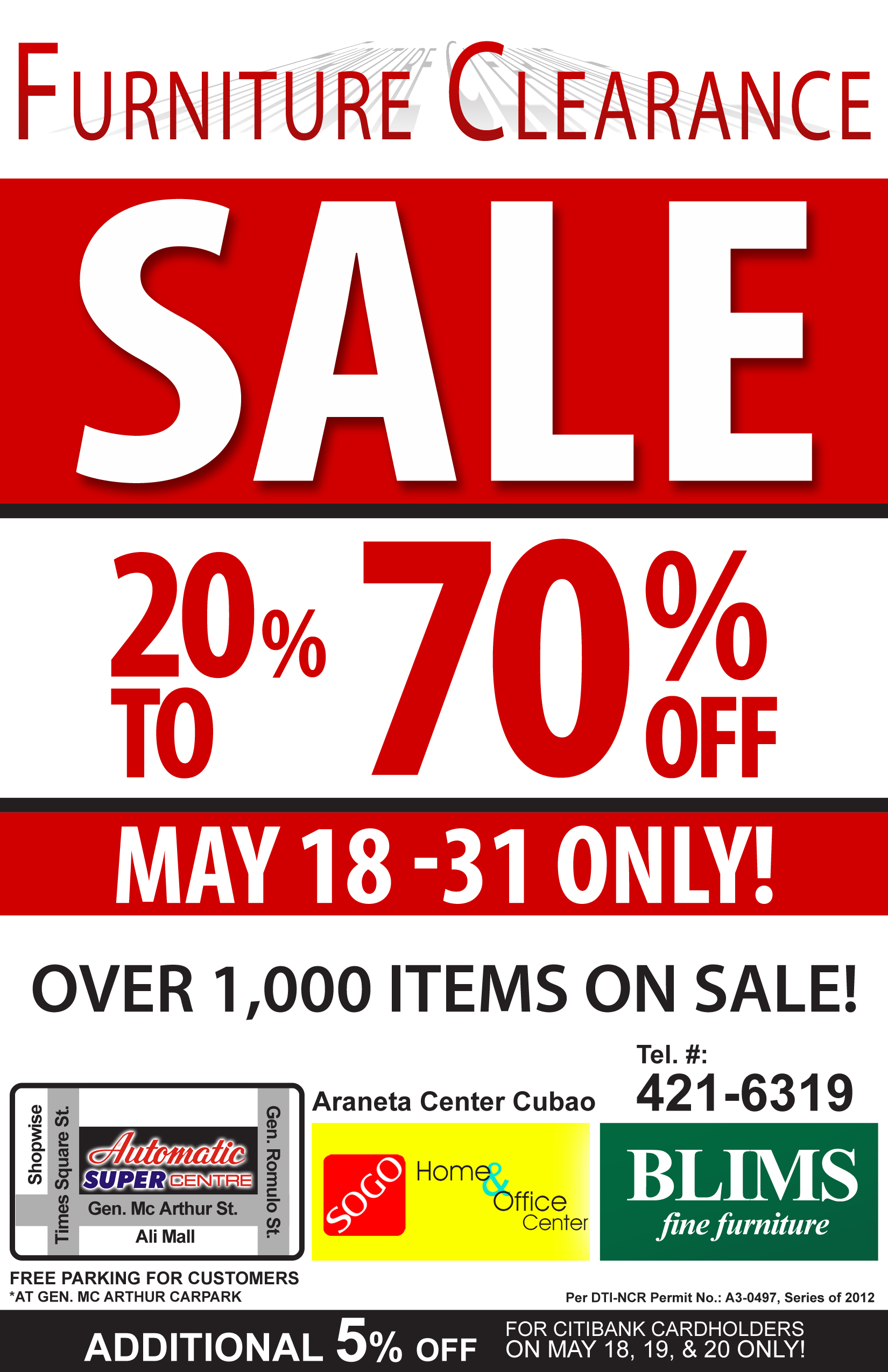 BLIMS & SOGO furniture clearance sale May 2012