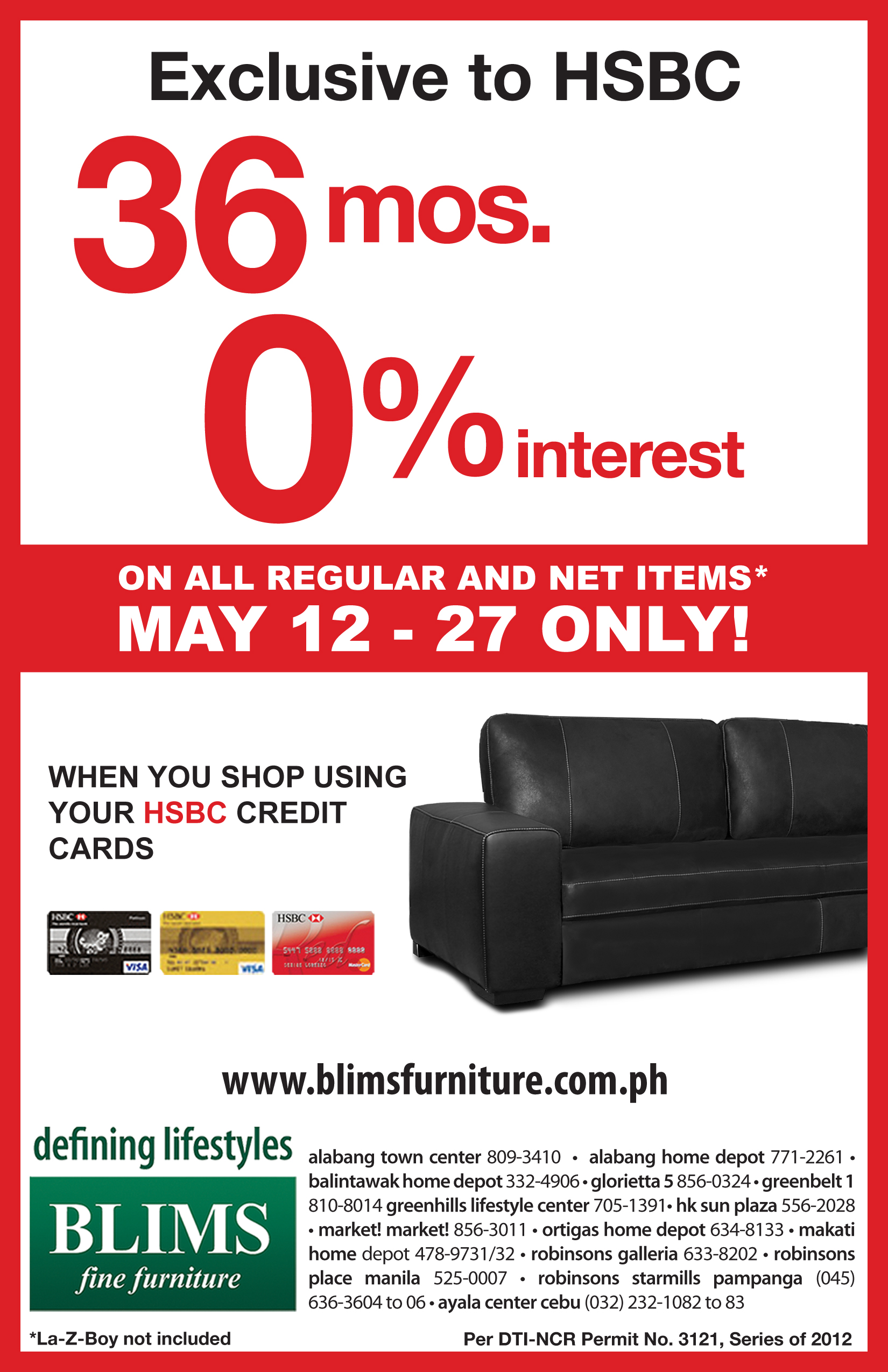 Blims Fine Furniture-HSBC Installment Program Promo May 2012