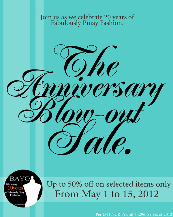 Bayo Anniversary Sale May 2012