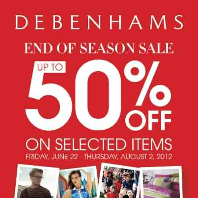 Debenhams End of Seaon Sale June - August 2012