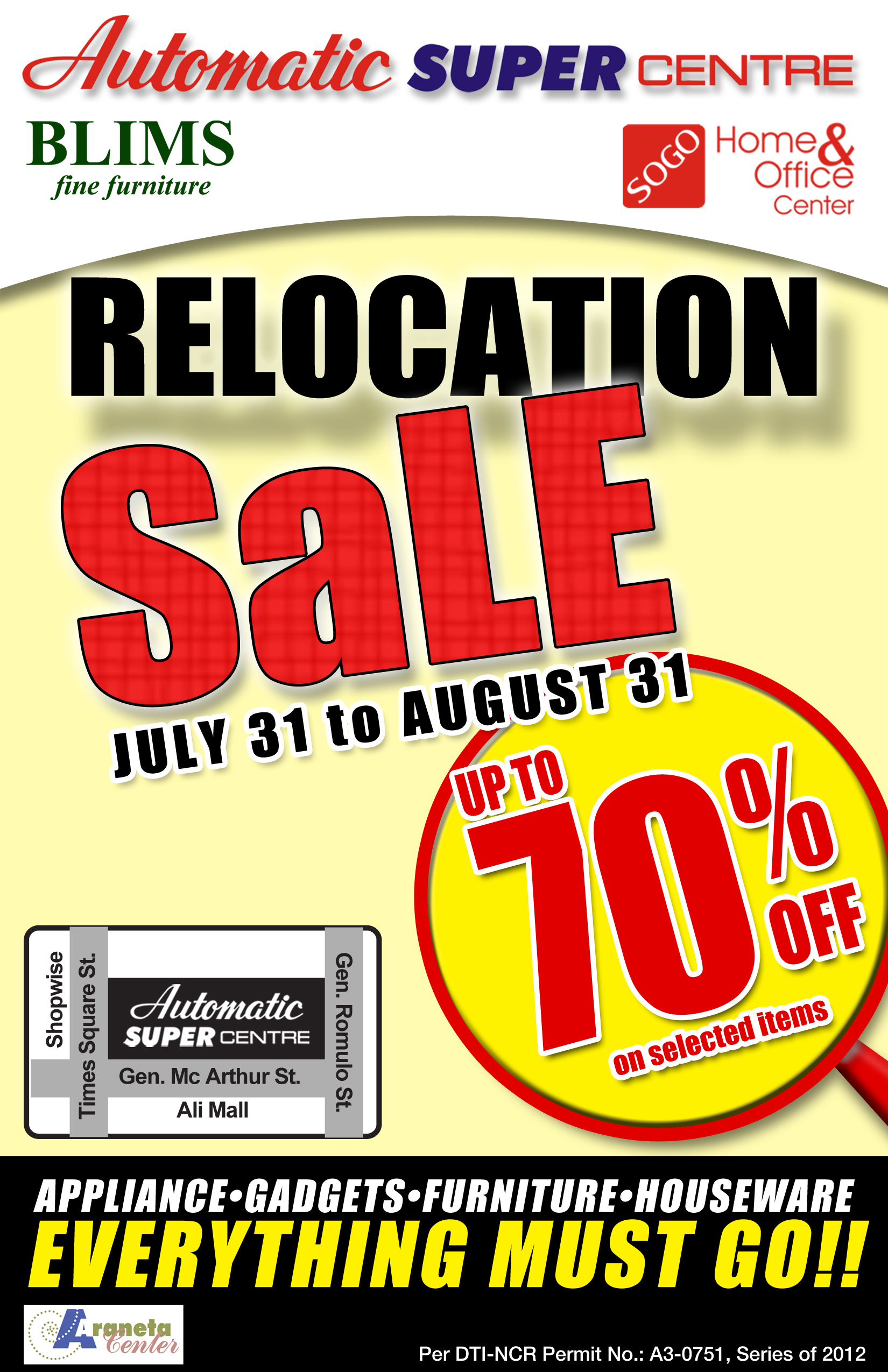 Automatic Supercenter Super Relocation Sale August 2012