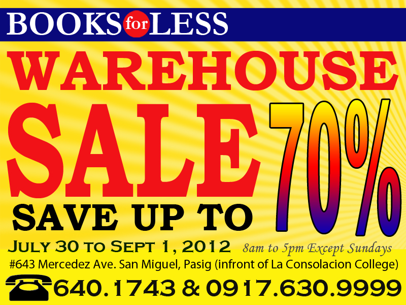 Books For Less Warehouse Sale August - September 2012