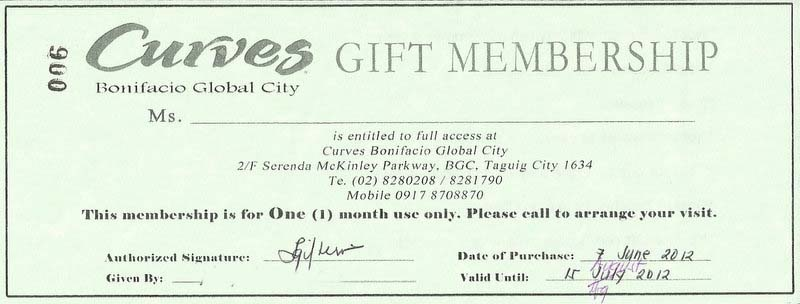 Curves Gift Membership Giveaway July 2012