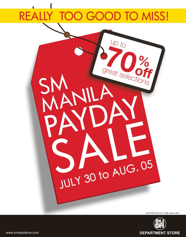SM Manila Payday Sale July - August 2012