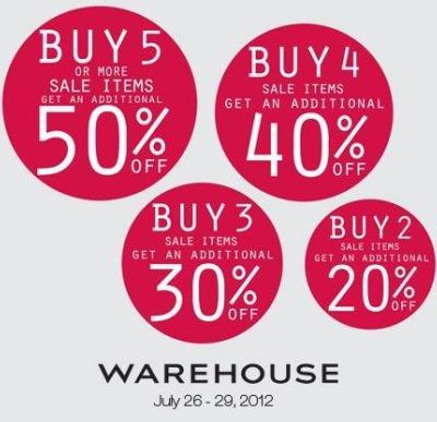 Warehouse Further Reductions July 2012