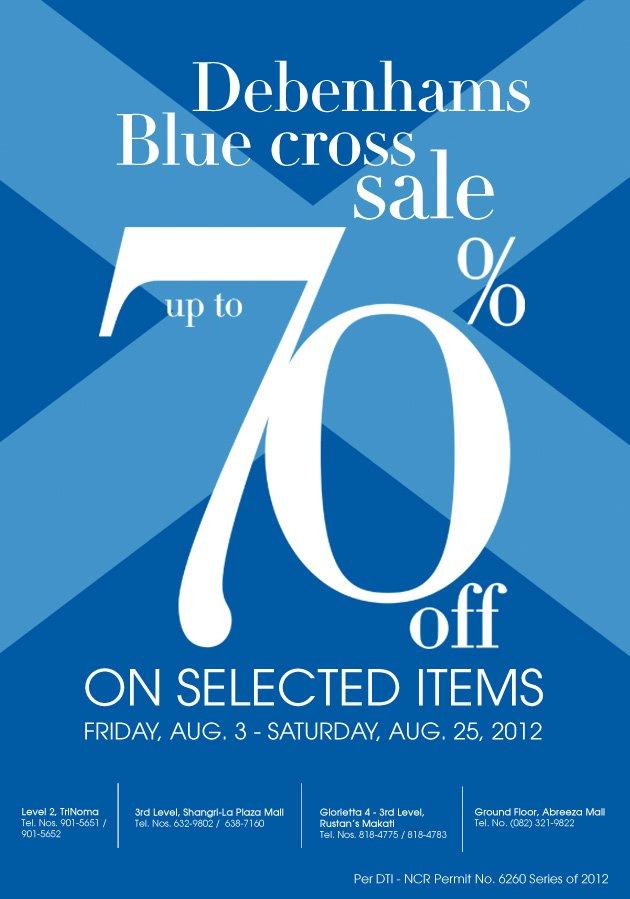 Debenhams Blue Cross Sale August 2012