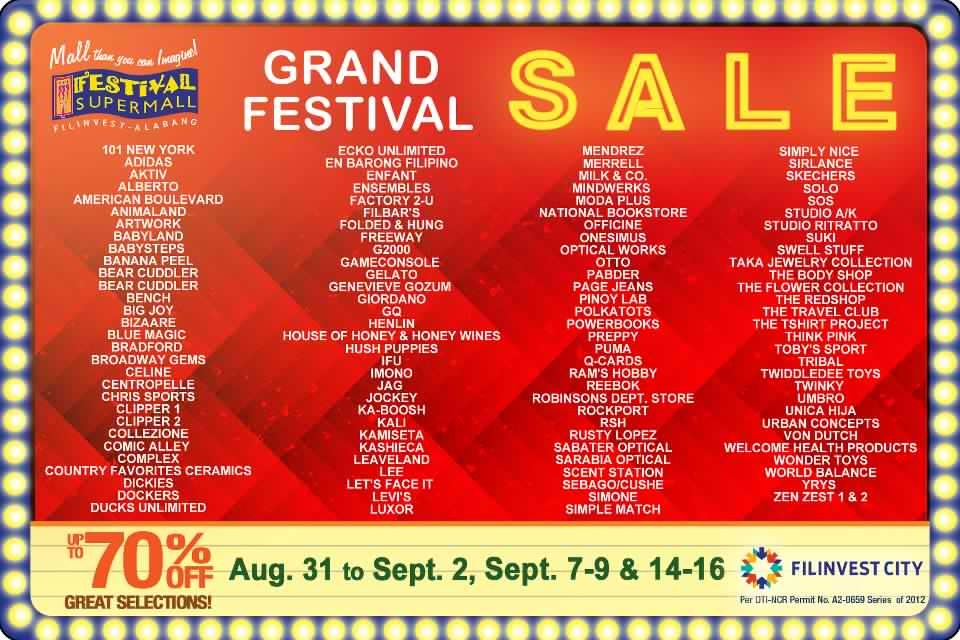 Grand Festival Sale Participating Stores August - September 2012