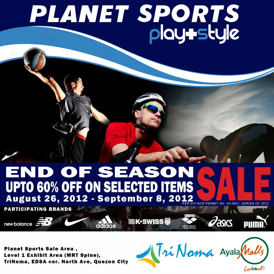 Planet Sports End of Season Sale August - September 2012