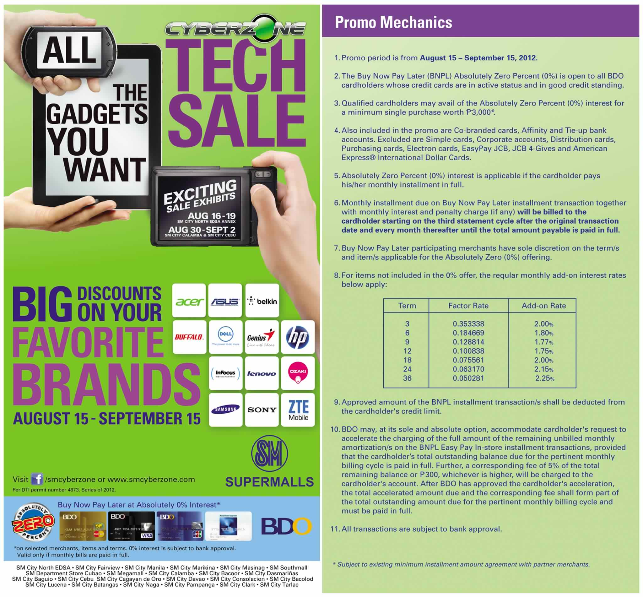 SM Cyberzone Tech Sale August 2012