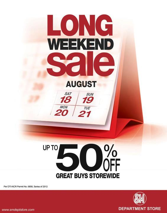 SM Dept Store Long Weekend Sale August 2012