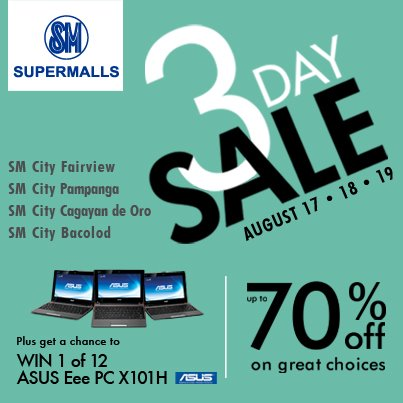 SM Supermalls 3 Day Sale August 2012