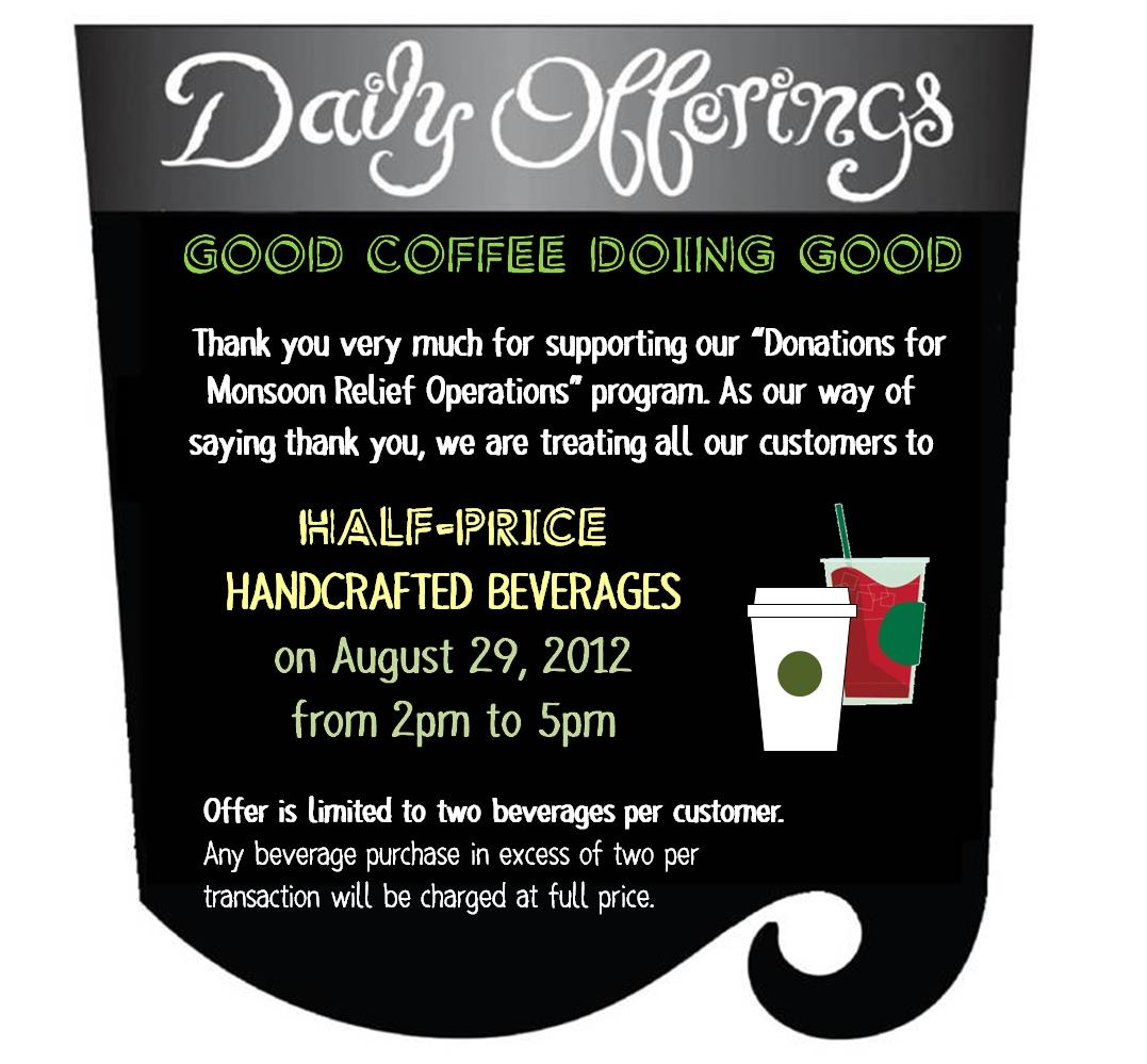 Starbucks Half-Price on Handcrafted Beverages: August 29, 2012
