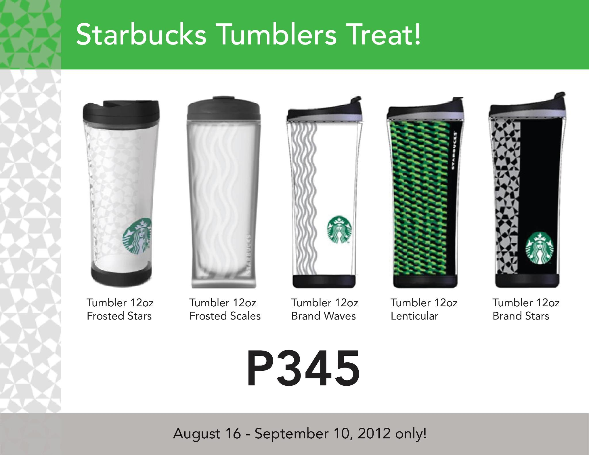 Starbucks Tumblers Treat August  - September 2012