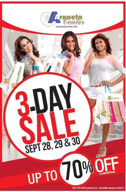 Araneta Center 3-Day Sale September 2012