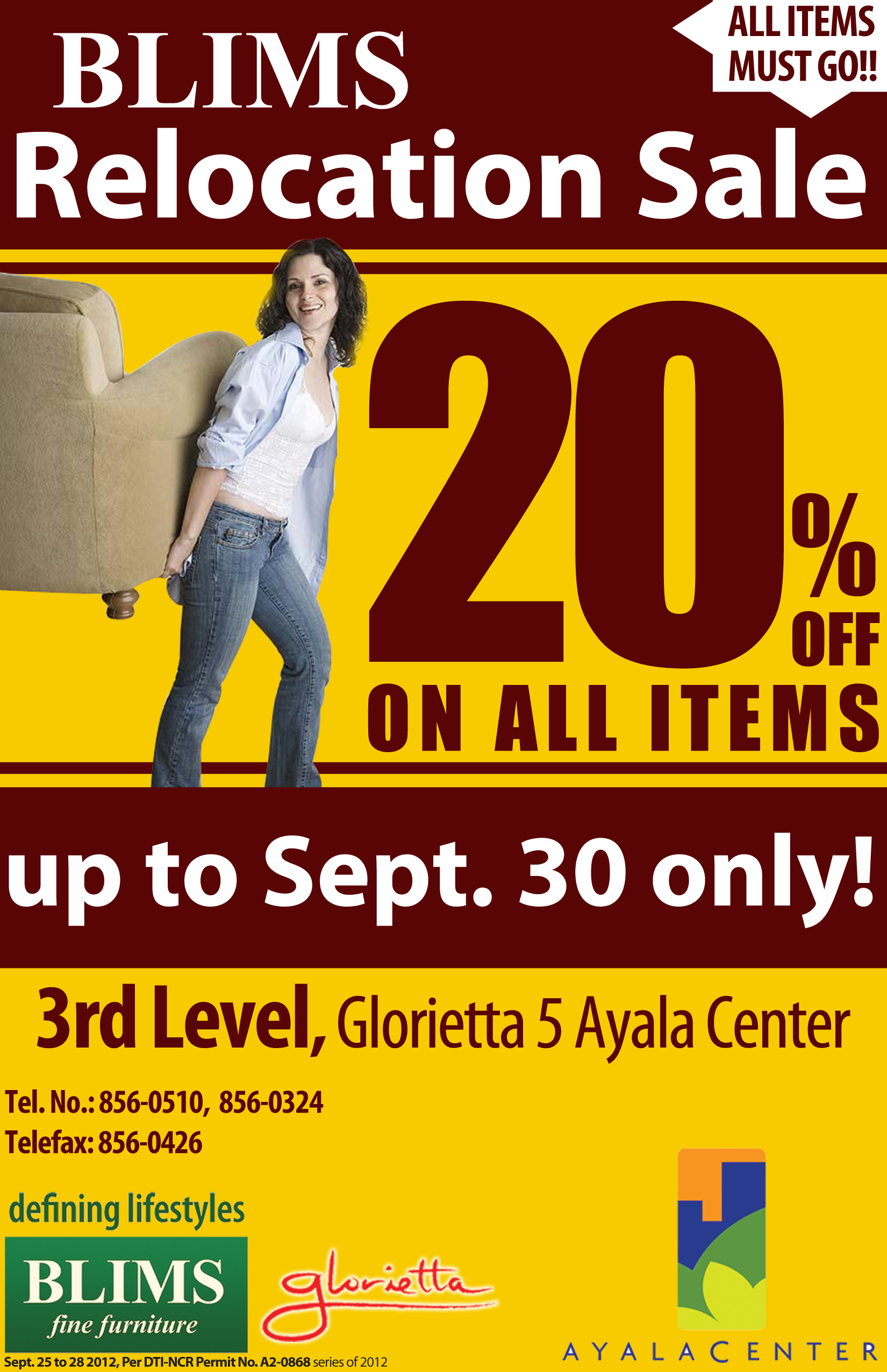 BLIMS Glorietta 5 Relocation Sale September 2012