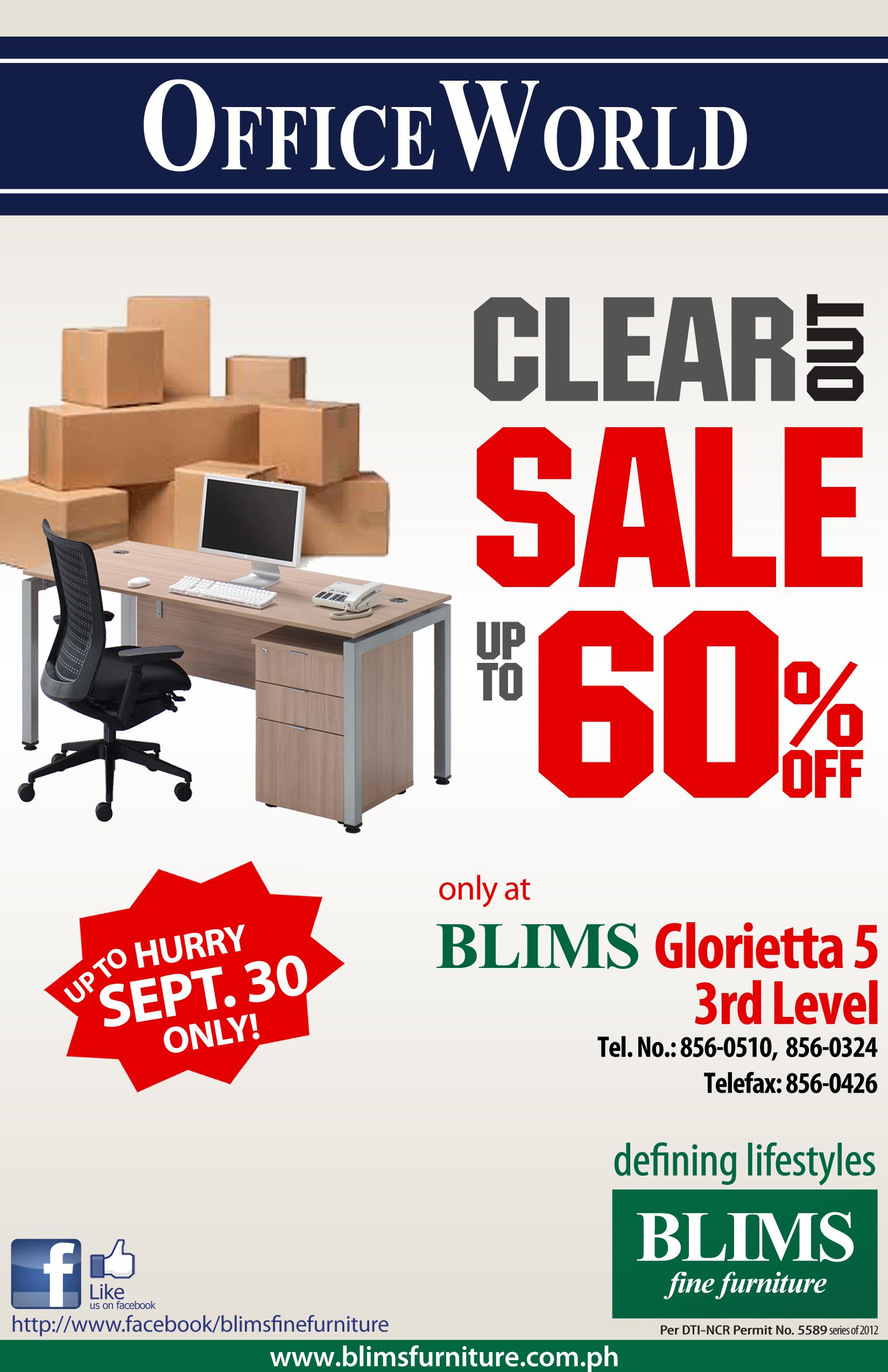 Office World Clear Out Sale @ BLIMS Glorietta 5 September 2012