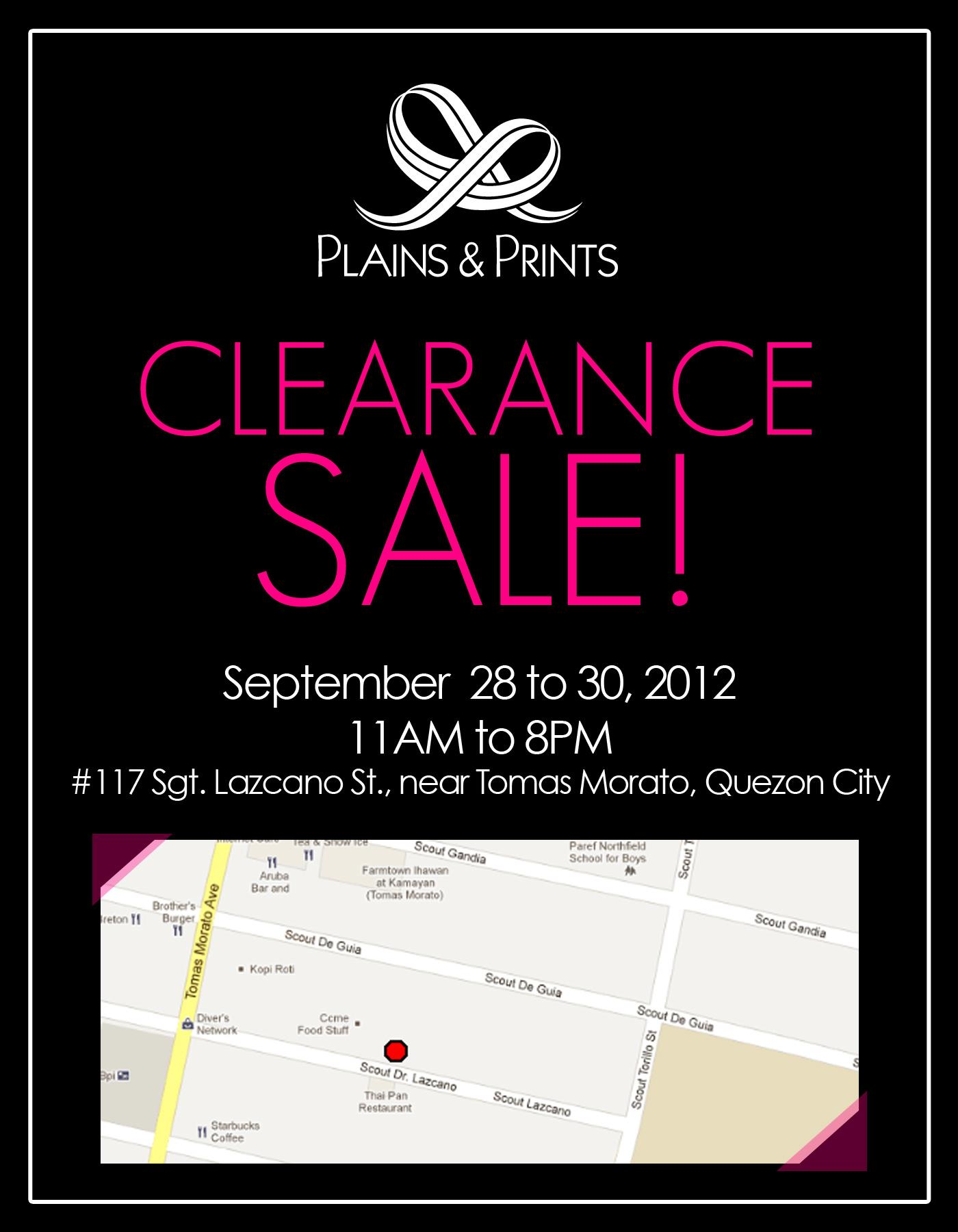 Plains & Prints Clearance Sale September 2012