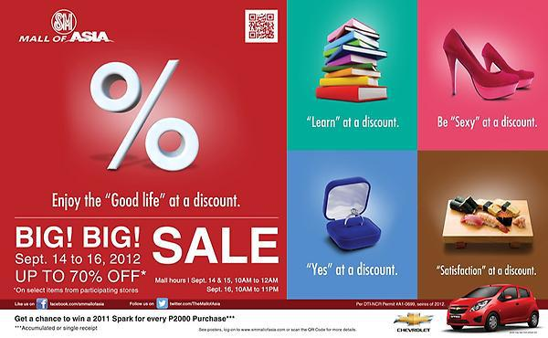 SM Mall of Asia 3-Day Sale September 2012