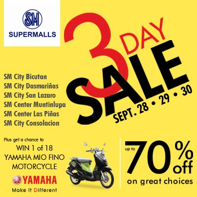 SM Supermalls 3-Day Sale September 2012