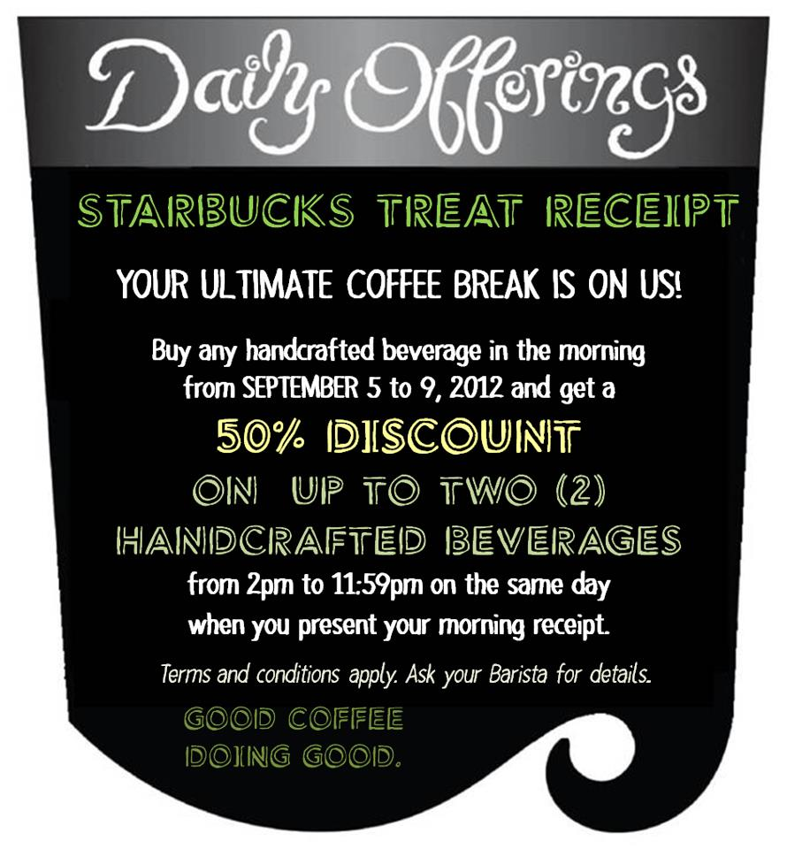 Starbucks Treat Receipt September 2012