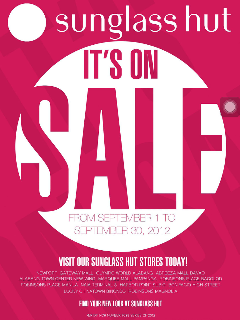 Sunglass Hut Sale September 2012