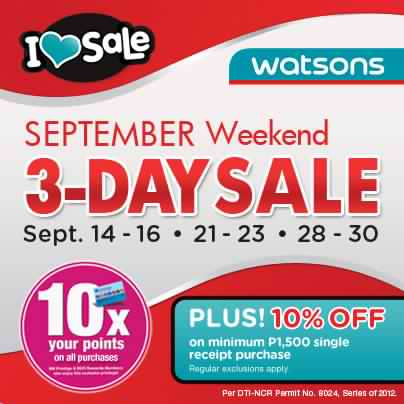 Watsons September Weekend Sale 2012