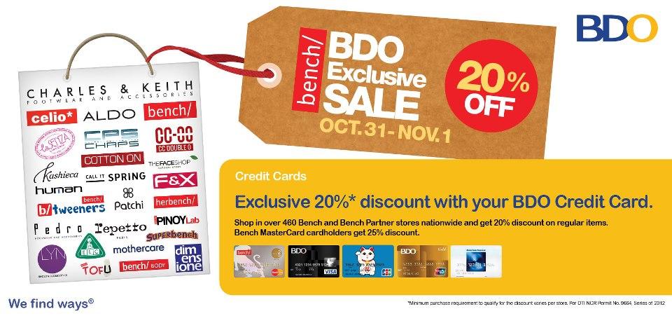 Bench + BDO Exclusive Sale October 2012