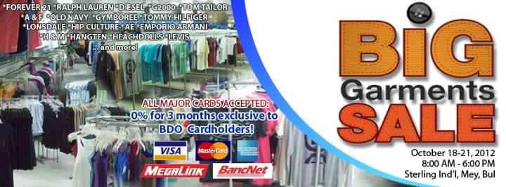 Big Garments Sale October 2012