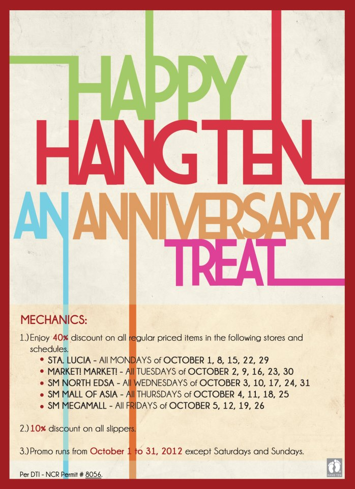 Hang Ten Anniversary Sale October 2012