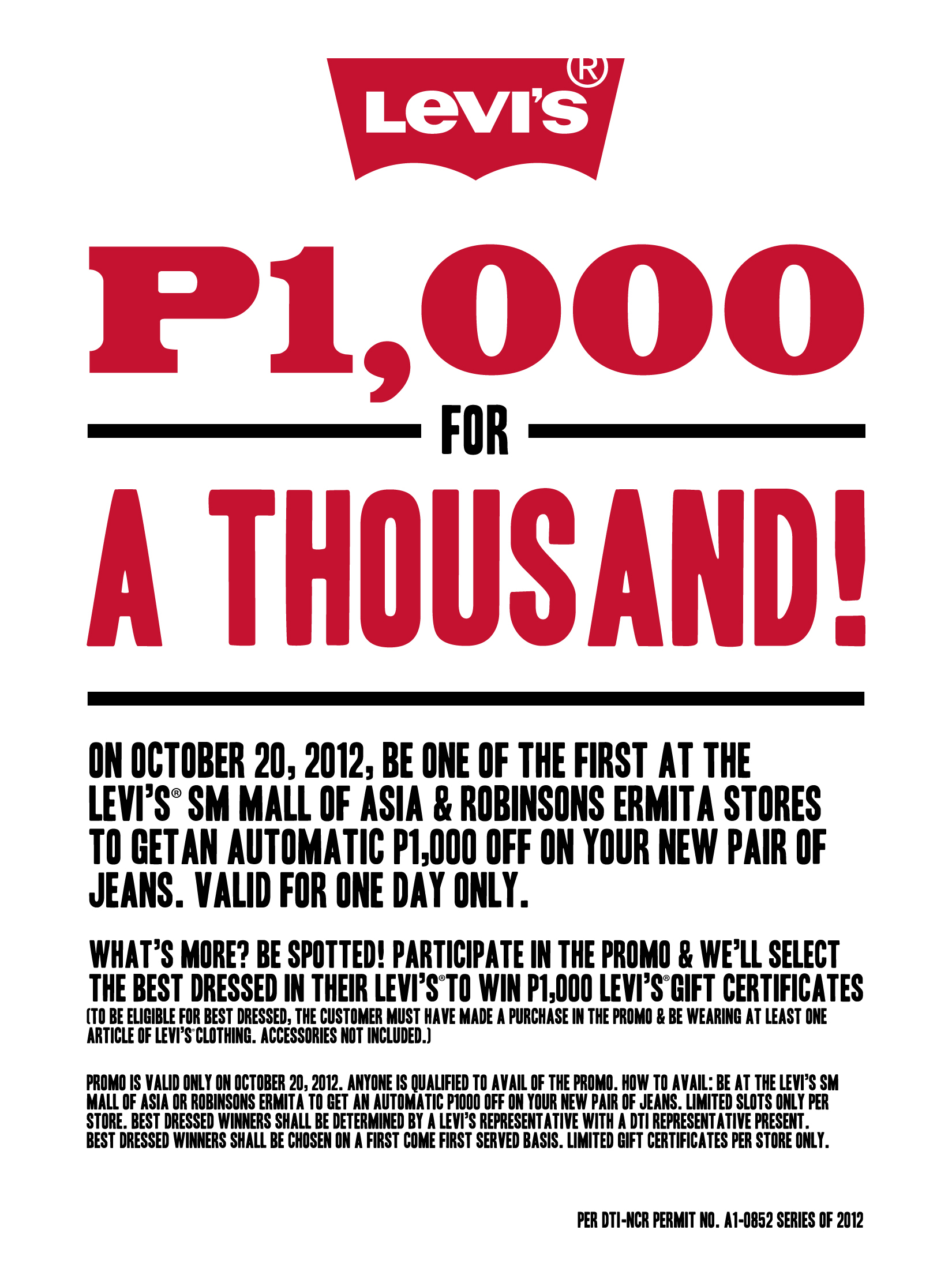 Levi's 1000 for 1000 Promo October 2012