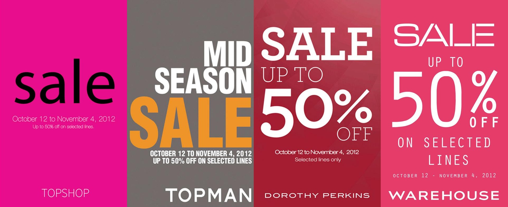 Topshop, Topman, Dorothy Perkins, Warehouse Mid-Season Sale October - November 2012