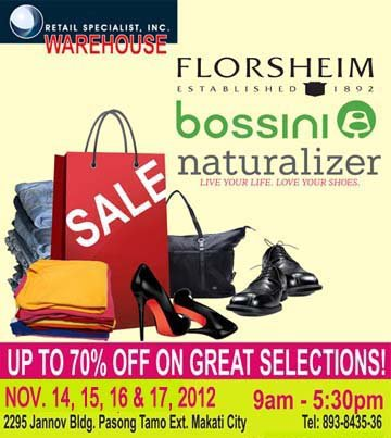 Naturalizer, Bossini, Florsheim Warehouse Sale November 2012