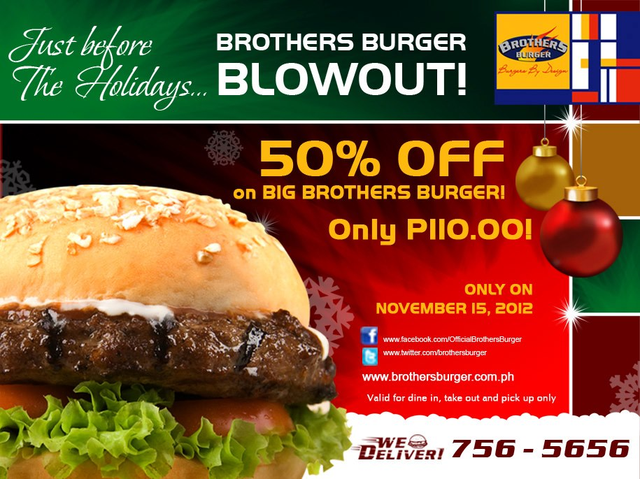 Brothers Burger Blowout Sale November 2012