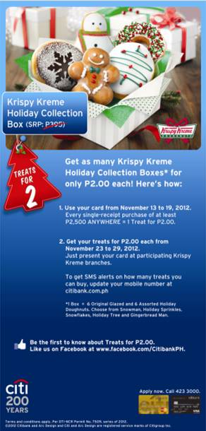 Citibank promo - Krispy Kreme Php 2 Treat November 2012