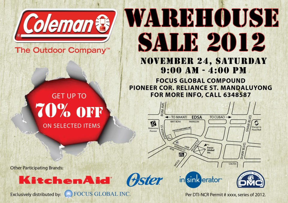 Coleman Warehouse Sale November 2012
