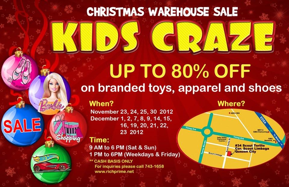 Kids Craze Christmas Warehouse Sale November - December 2012