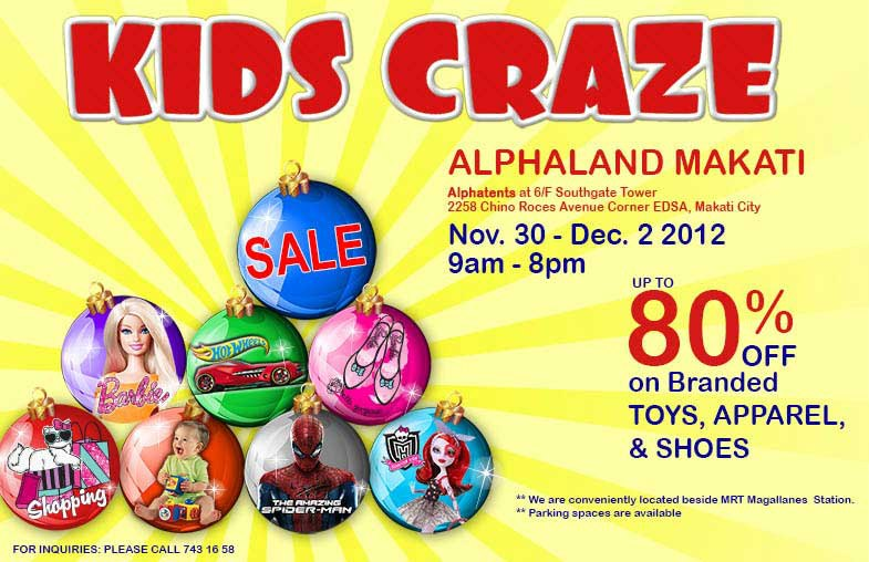 Kids Craze Warehouse Sale @ Alphaland Makati November - December 2012