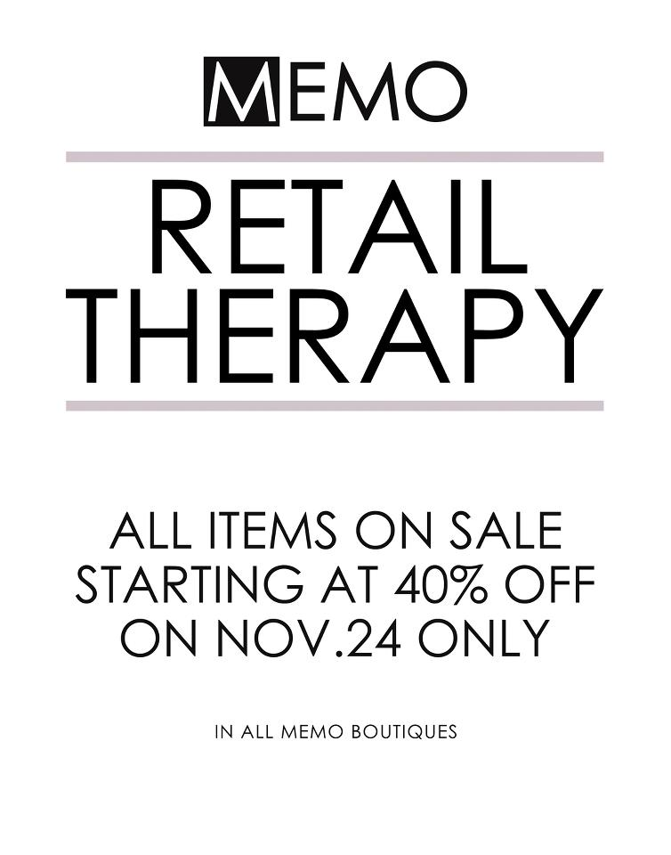 Memo Retail Therapy Sale November 2012