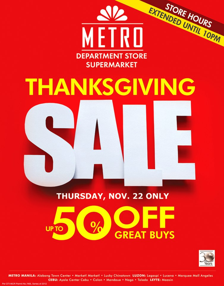 Metro Department Store Thanksgiving Sale November 2012
