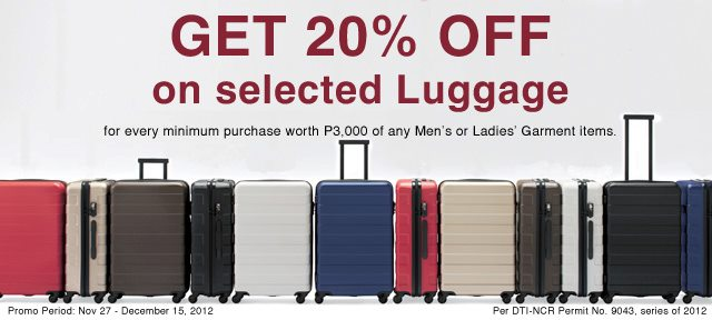 Muji Philippines Luggage Sale November - December 2012