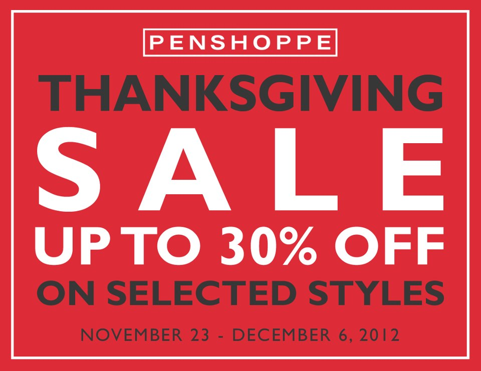 Penshoppe Thanksgiving Sale November - December 2012