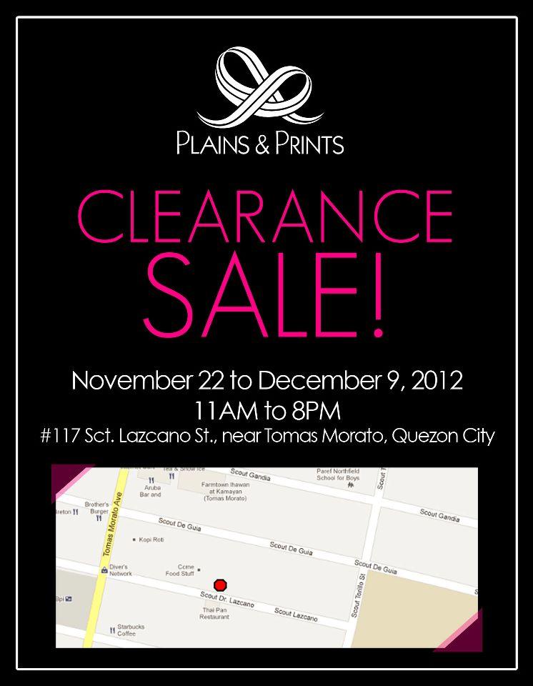 Plains & Prints Clearance Sale November - December 2012