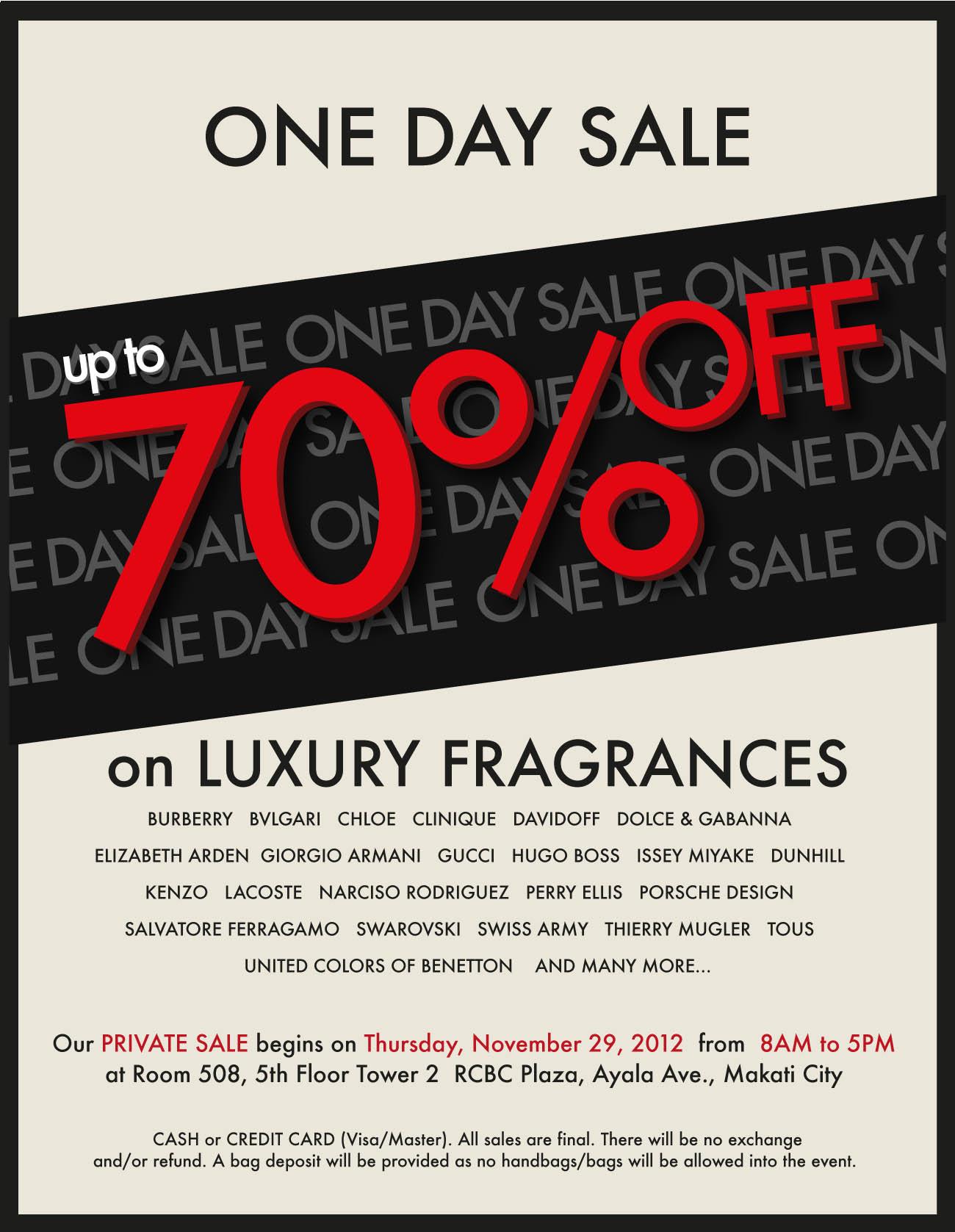 Luxury Fragrance Private Sale @ RCBC Plaza November 2012