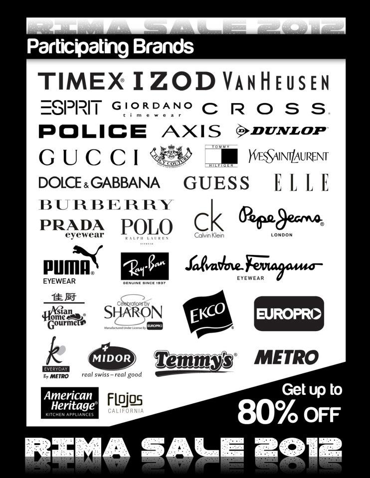 RIMA Sale Participating Brands November - December 2012