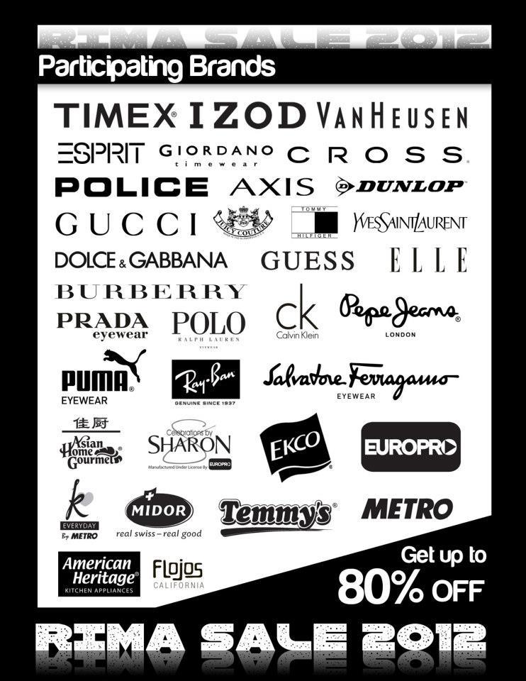 RIMA Sale Participating Brands November - December 2012