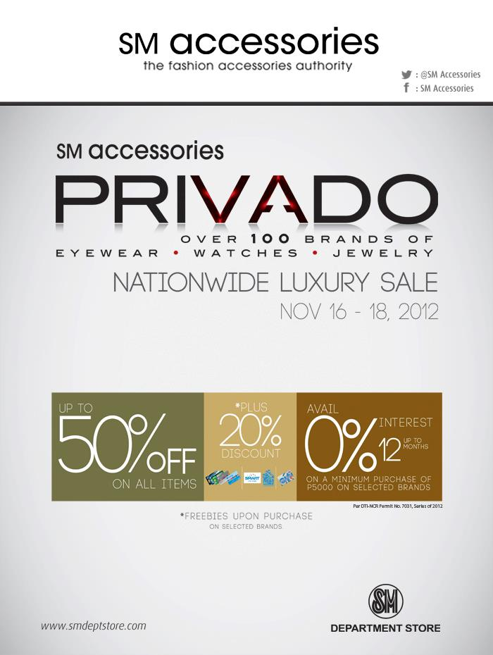 SM Accessories Privado Nationwide Luxury Sale November 2012